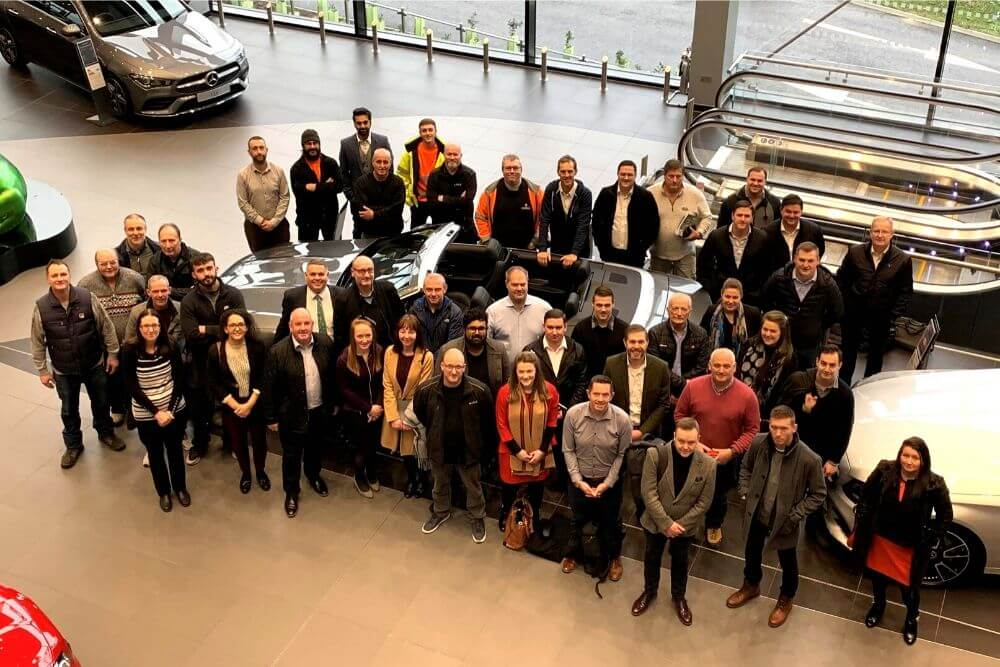 Maple hold team-building day at Europe's largest Mercedes showroom